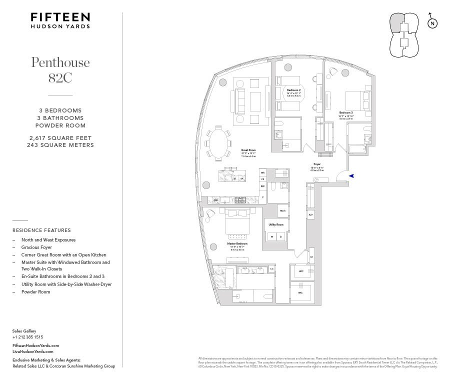15 Hudson Yards Ph82c New York Ny 10001 New York Condos Hudson Yards 3 Bedroom Condo For Sale