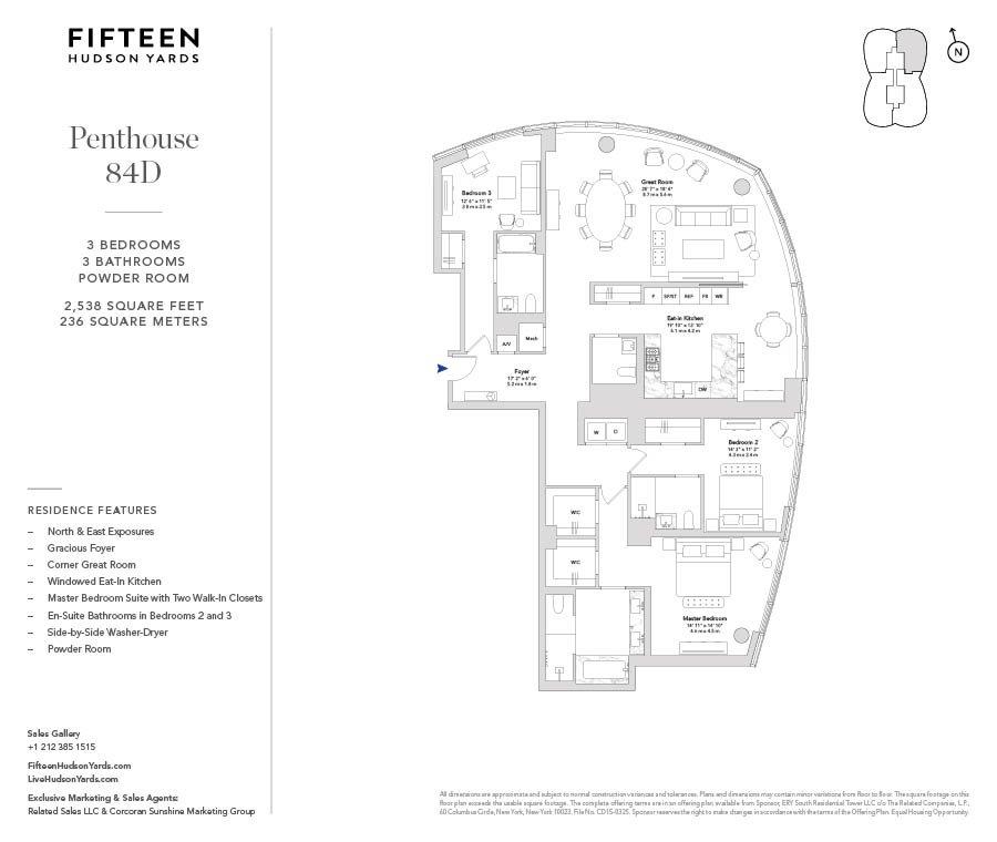 15 Hudson Yards Ph84d New York Ny 10001 New York Condos Hudson Yards 3 Bedroom Condo For Sale